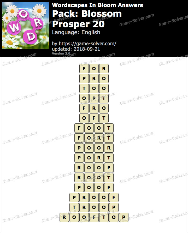 Wordscapes In Bloom Blossom-Prosper 20 Answers