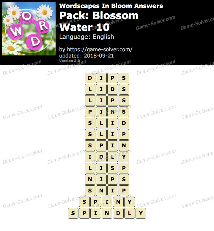 Wordscapes In Bloom Blossom-Water 10 Answers