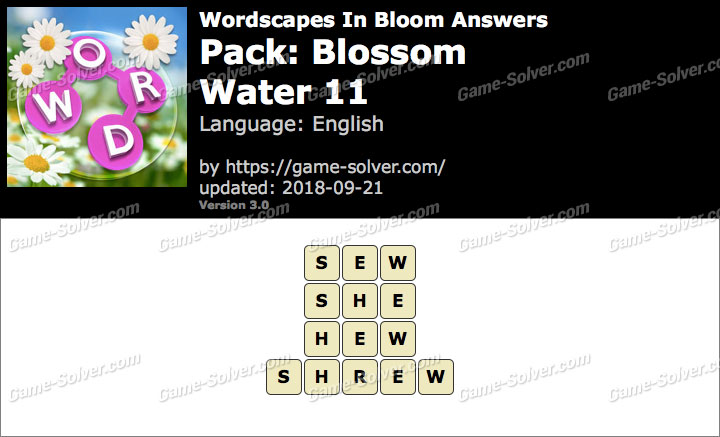 Wordscapes In Bloom Blossom-Water 11 Answers