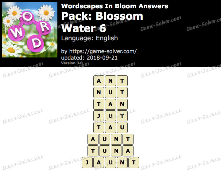 Wordscapes In Bloom Blossom-Water 6 Answers