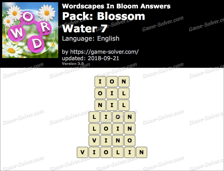 Wordscapes In Bloom Blossom-Water 7 Answers