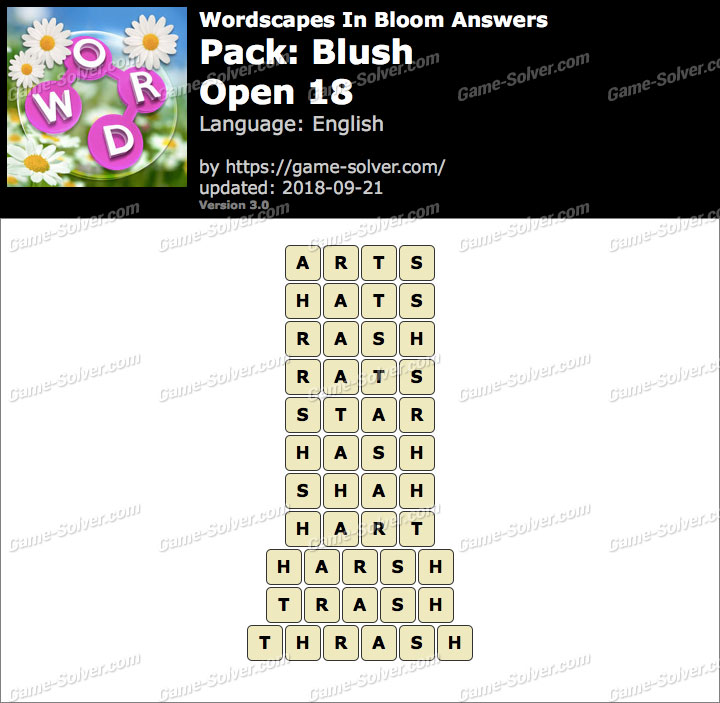 Wordscapes In Bloom Blush-Open 18 Answers