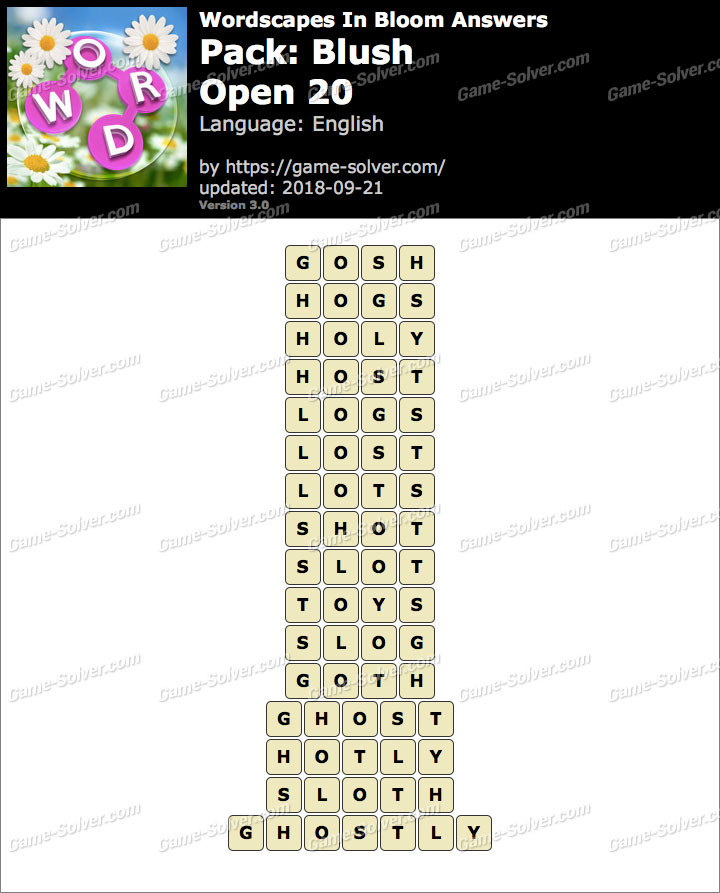 Wordscapes In Bloom Blush-Open 20 Answers