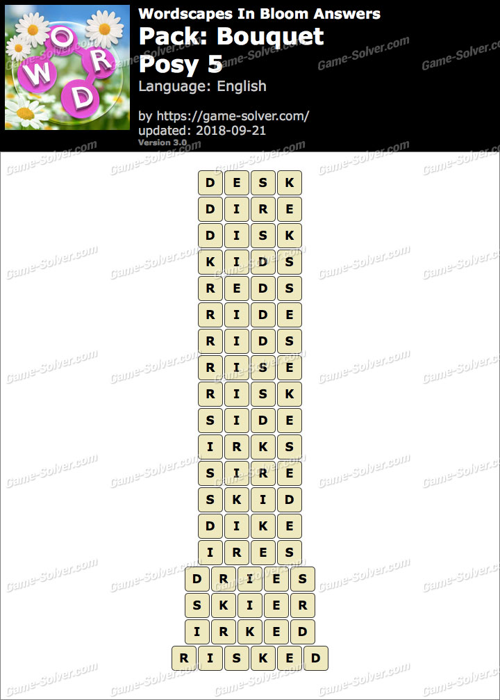 Wordscapes In Bloom Bouquet-Posy 5 Answers