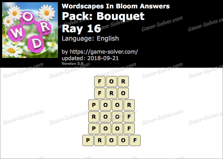 Wordscapes In Bloom Bouquet-Ray 16 Answers
