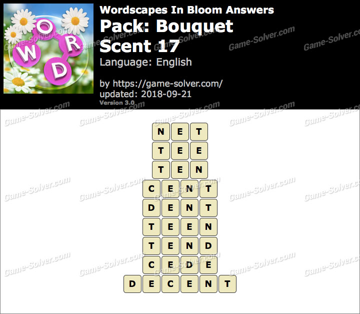 Wordscapes In Bloom Bouquet-Scent 17 Answers