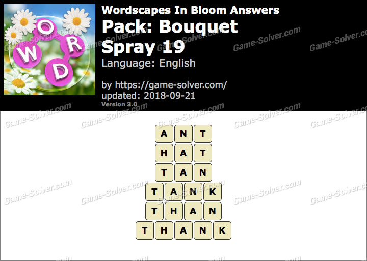 Wordscapes In Bloom Bouquet-Spray 19 Answers