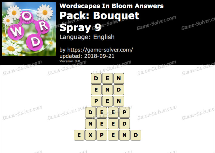 Wordscapes In Bloom Bouquet-Spray 9 Answers