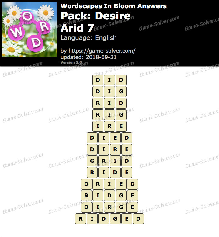 Wordscapes In Bloom Desire-Arid 7 Answers