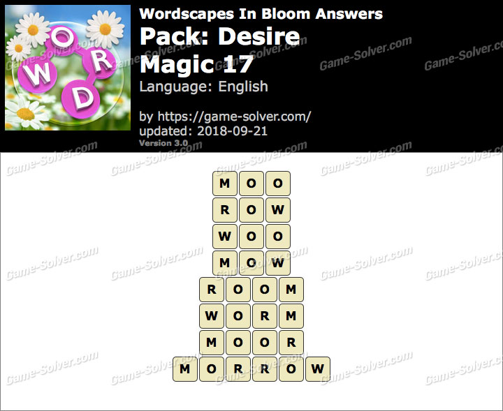 Wordscapes In Bloom Desire-Magic 17 Answers