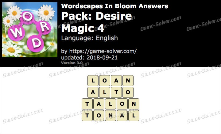 Wordscapes In Bloom Desire-Magic 4 Answers