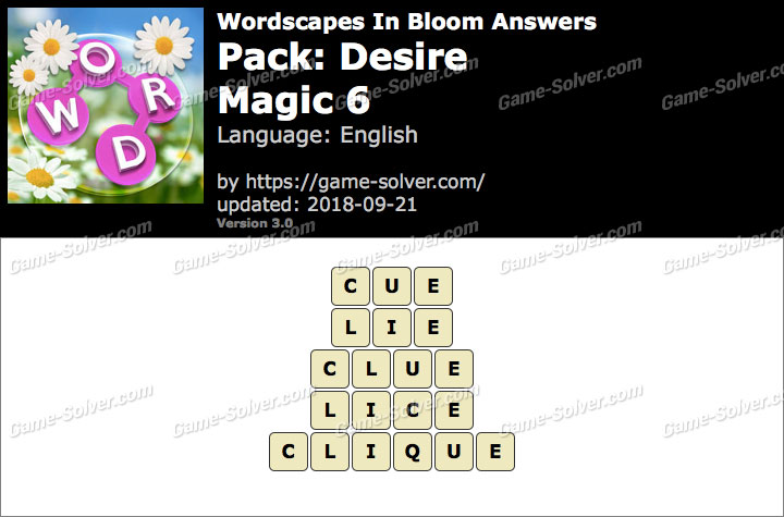 Wordscapes In Bloom Desire-Magic 6 Answers