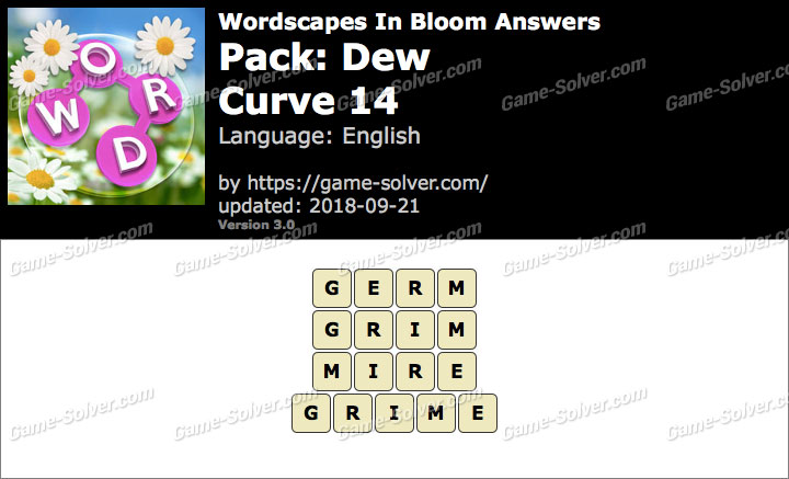 Wordscapes In Bloom Dew-Curve 14 Answers