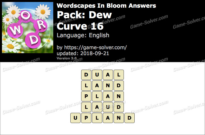 Wordscapes In Bloom Dew-Curve 16 Answers