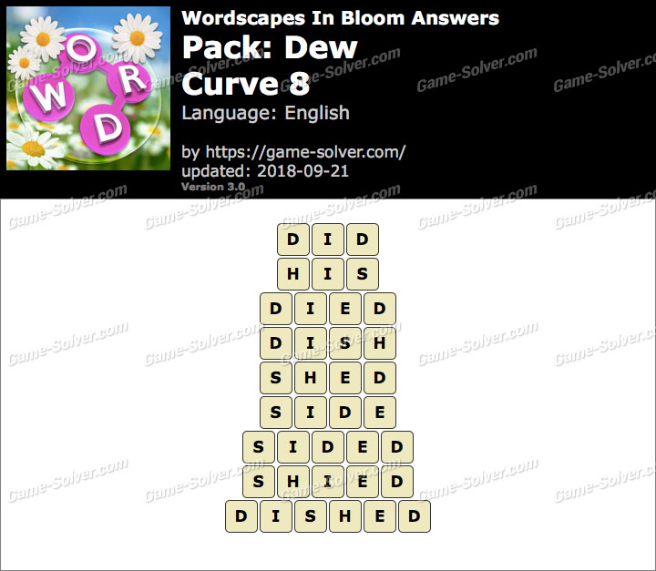 Wordscapes In Bloom Dew-Curve 8 Answers