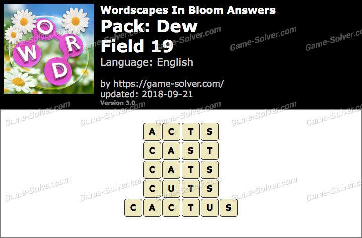 Wordscapes In Bloom Dew-Field 19 Answers