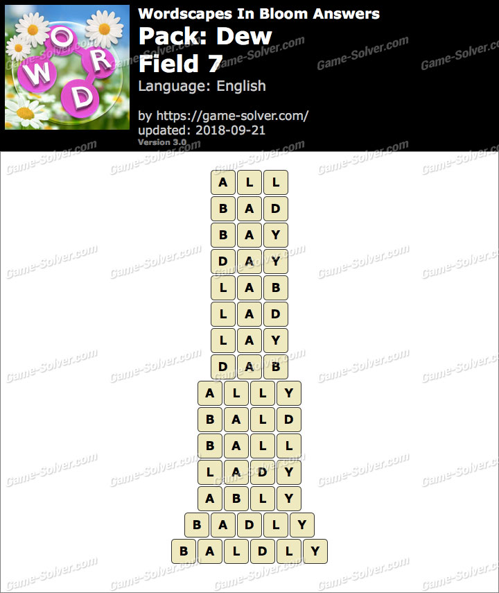 Wordscapes In Bloom Dew-Field 7 Answers