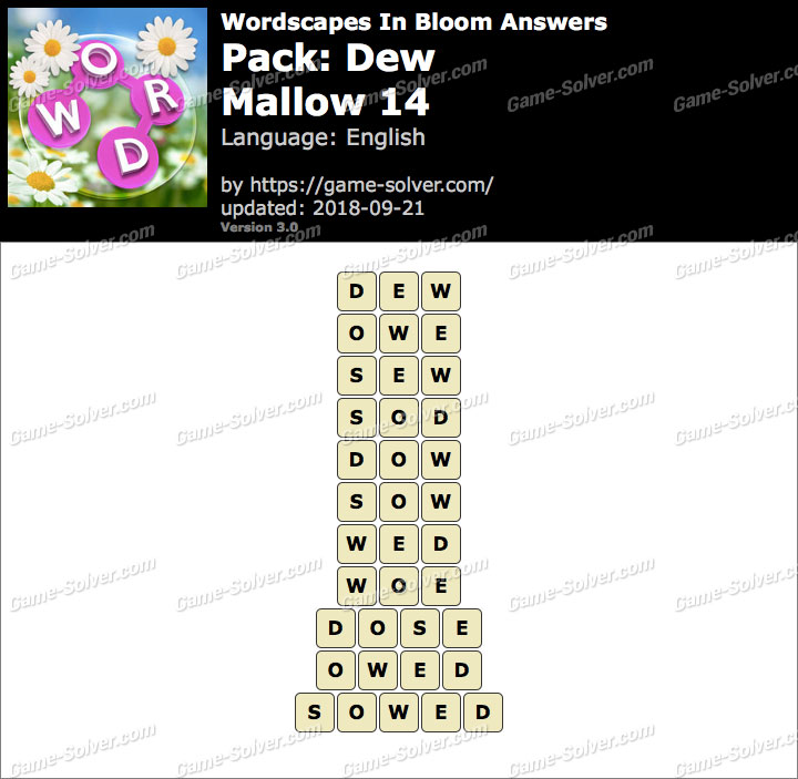 Wordscapes In Bloom Dew-Mallow 14 Answers