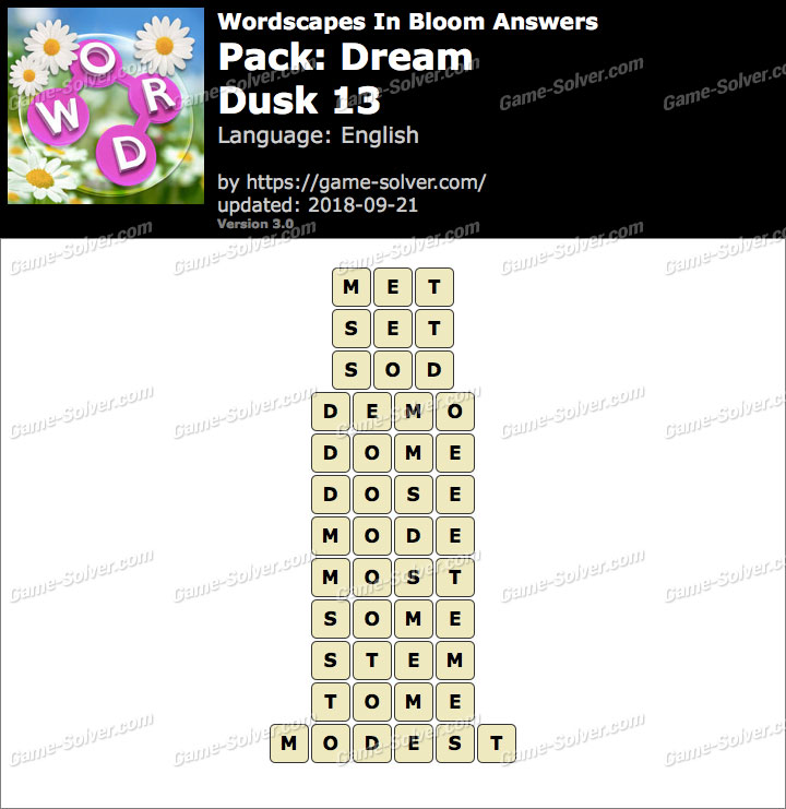 Wordscapes In Bloom Dream-Dusk 13 Answers