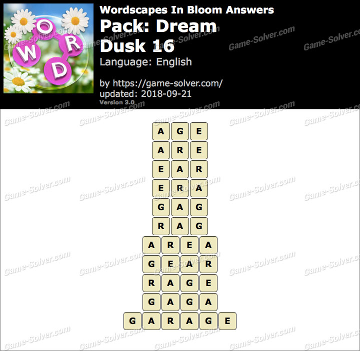 Wordscapes In Bloom Dream-Dusk 16 Answers