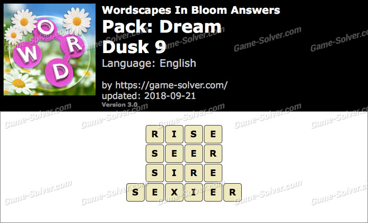Wordscapes In Bloom Dream-Dusk 9 Answers
