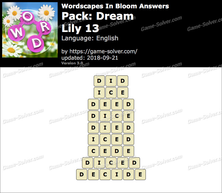 Wordscapes In Bloom Dream-Lily 13 Answers