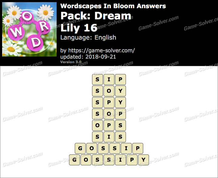 Wordscapes In Bloom Dream-Lily 16 Answers