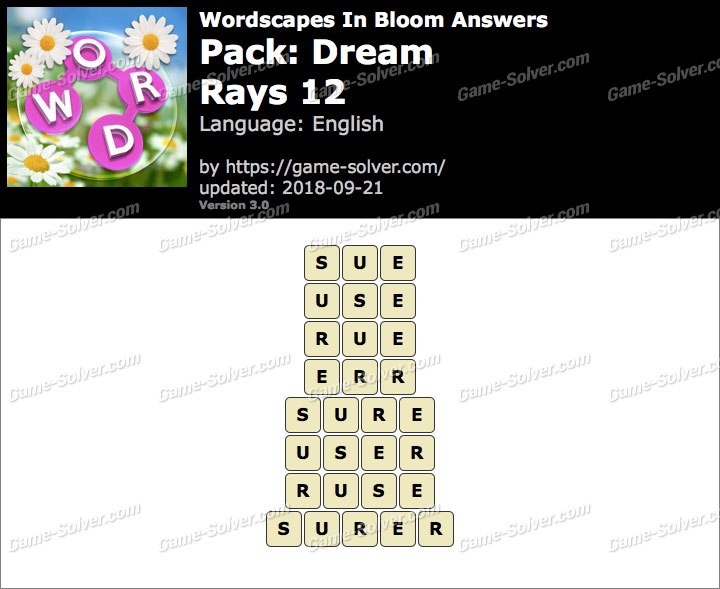 Wordscapes In Bloom Dream-Rays 12 Answers