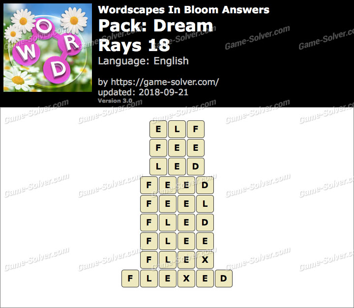 Wordscapes In Bloom Dream-Rays 18 Answers