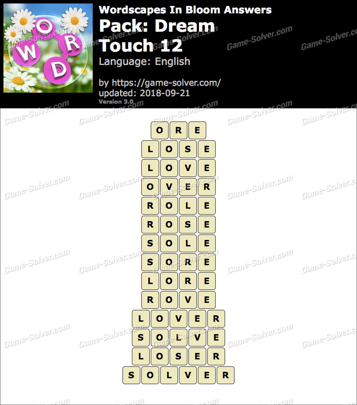 Wordscapes In Bloom Dream-Touch 12 Answers