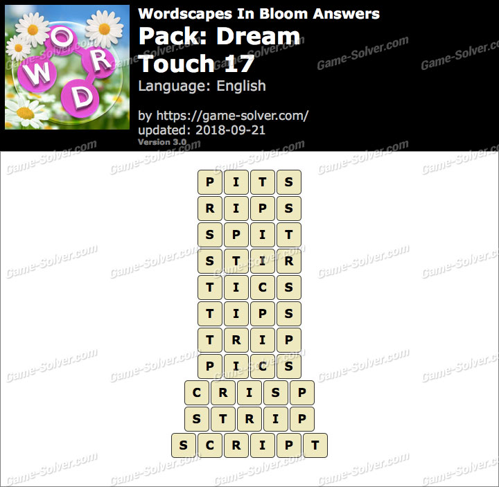 Wordscapes In Bloom Dream-Touch 17 Answers