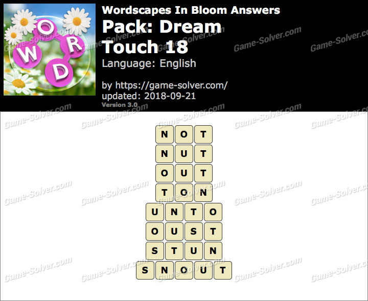 Wordscapes In Bloom Dream-Touch 18 Answers