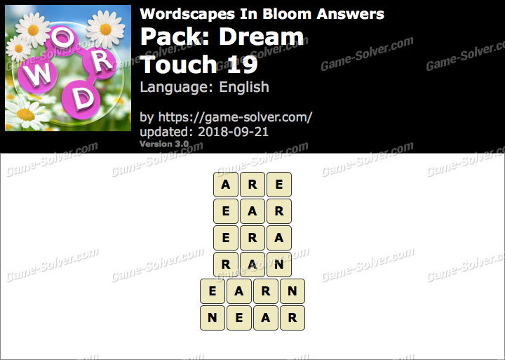Wordscapes In Bloom Dream-Touch 19 Answers