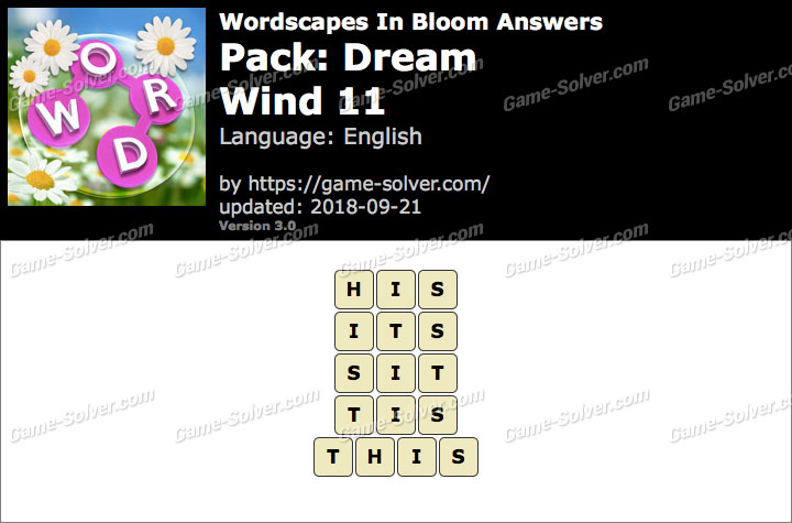 Wordscapes In Bloom Dream-Wind 11 Answers
