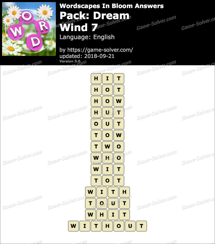 Wordscapes In Bloom Dream-Wind 7 Answers