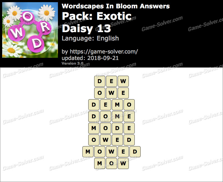 Wordscapes In Bloom Exotic-Daisy 13 Answers