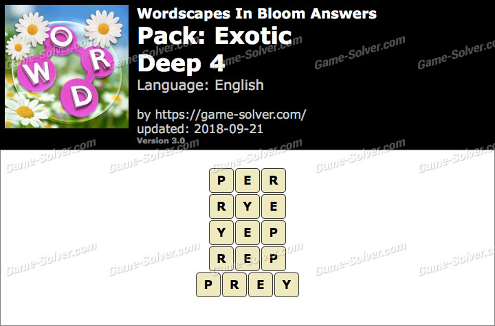 Wordscapes In Bloom Exotic-Deep 4 Answers