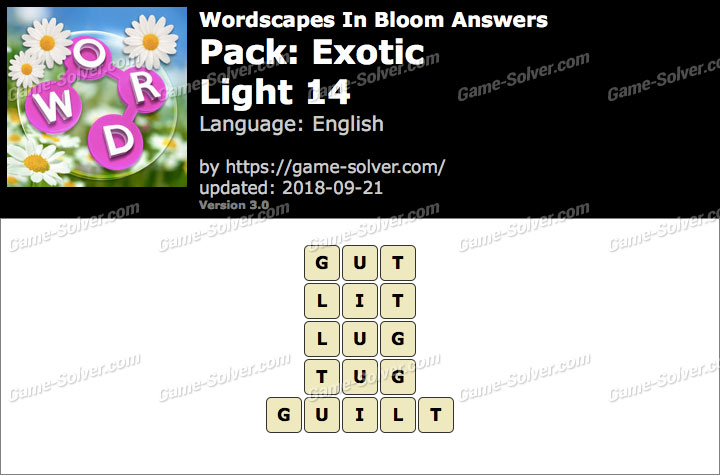 Wordscapes In Bloom Exotic-Light 14 Answers