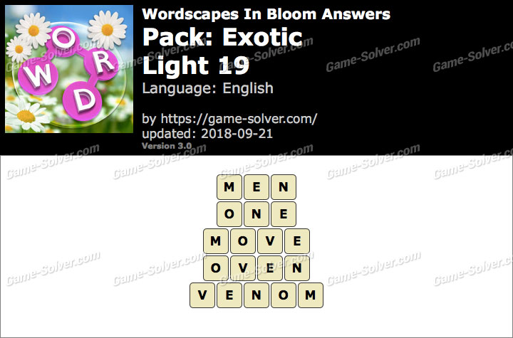 Wordscapes In Bloom Exotic-Light 19 Answers