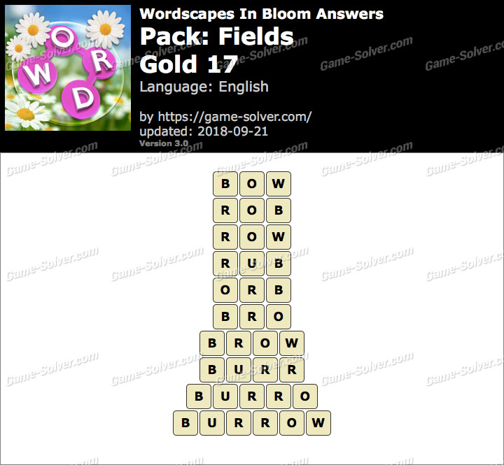 Wordscapes In Bloom Fields-Gold 17 Answers