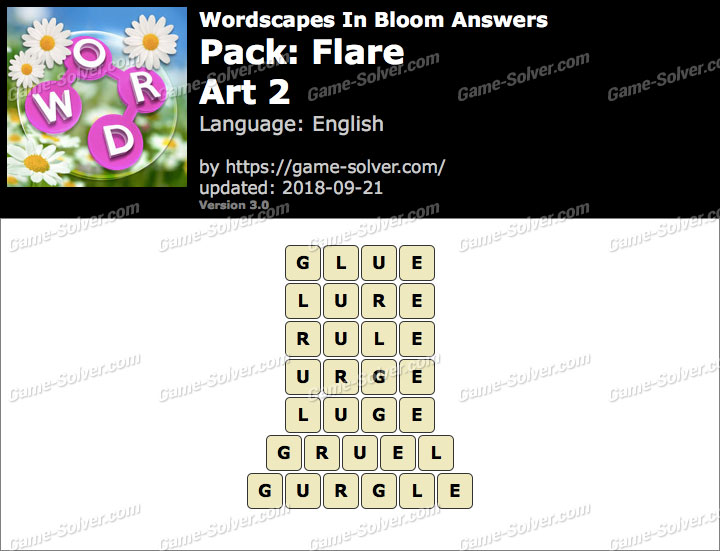 Wordscapes In Bloom Flare-Art 2 Answers