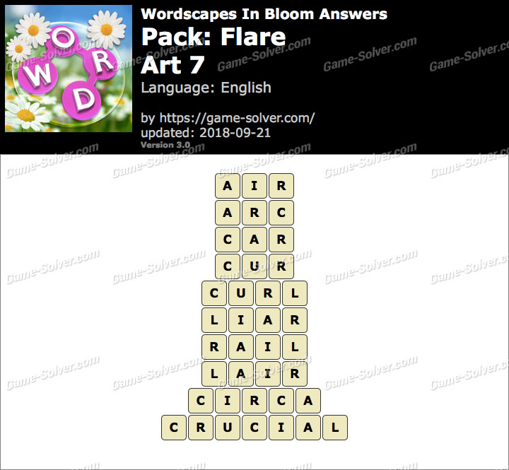 Wordscapes In Bloom Flare-Art 7 Answers