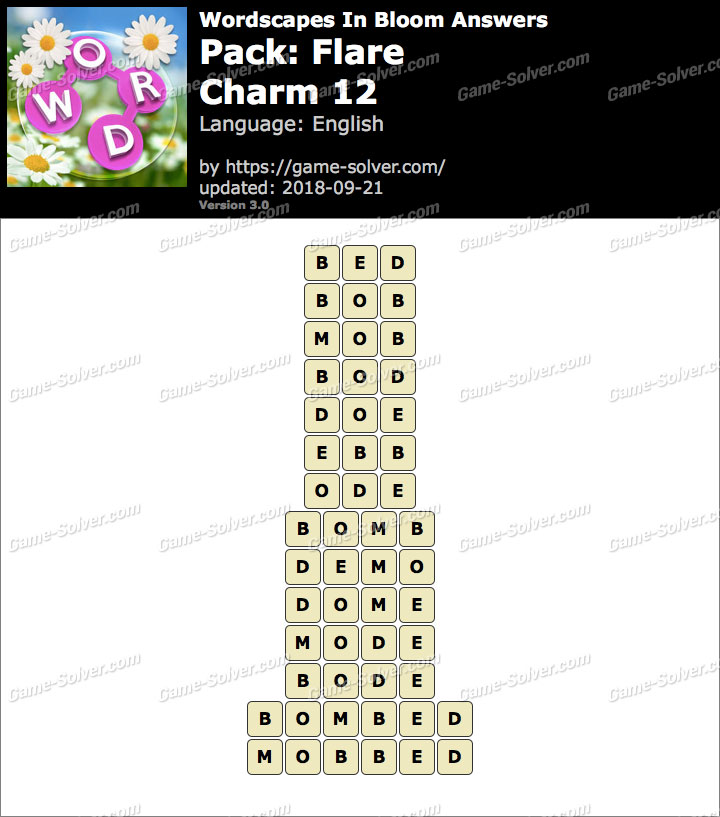 Wordscapes In Bloom Flare-Charm 12 Answers