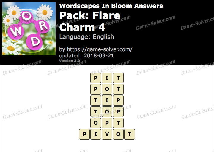 Wordscapes In Bloom Flare-Charm 4 Answers
