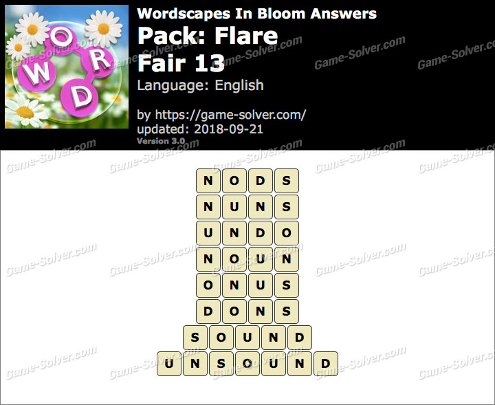 Wordscapes In Bloom Flare-Fair 13 Answers