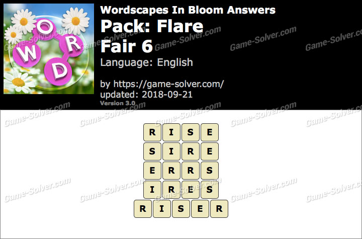 Wordscapes In Bloom Flare-Fair 6 Answers