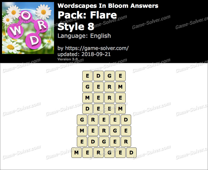 Wordscapes In Bloom Flare-Style 8 Answers