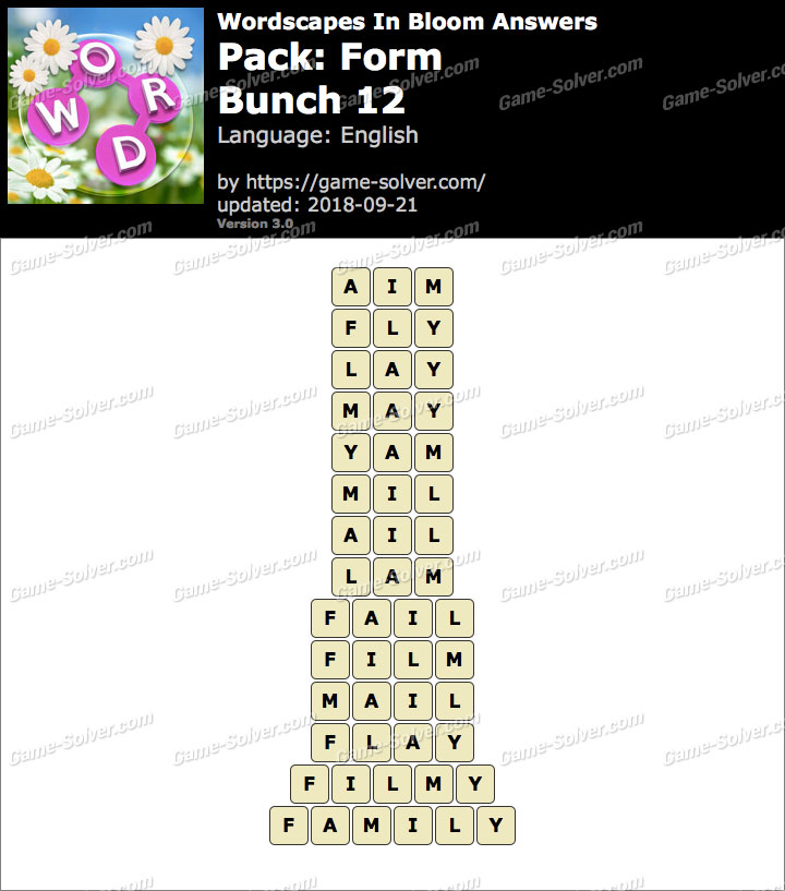 Wordscapes In Bloom Form-Bunch 12 Answers