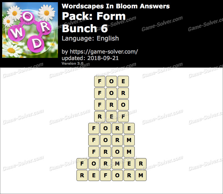 Wordscapes In Bloom Form-Bunch 6 Answers