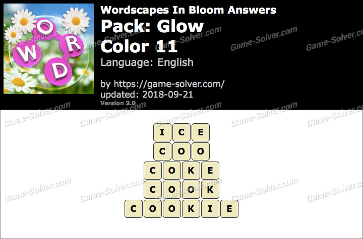 Wordscapes In Bloom Glow-Color 11 Answers